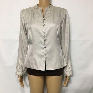 Adrianna Papell Beaded thin wedding blazer size 10